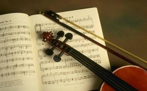 Красивое фото скрипка на тетраде
